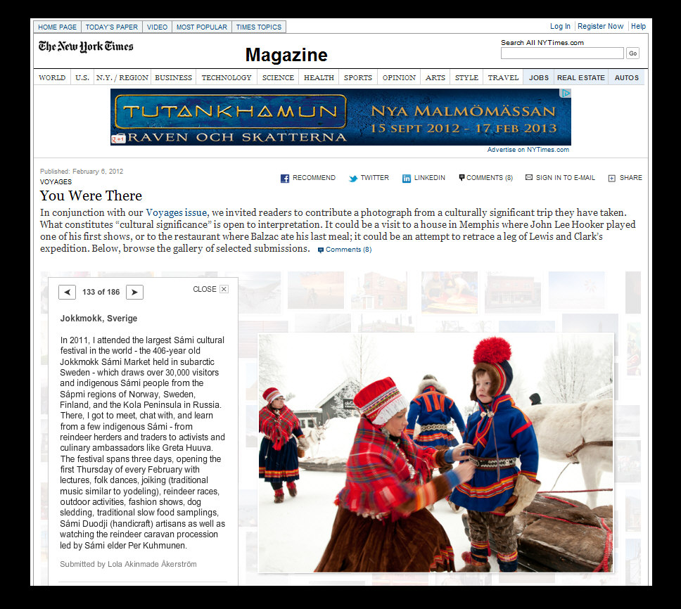 2012 New York Times - Cultural Pilgrimages - Sami Photography by Lola Akinmade Åkerström